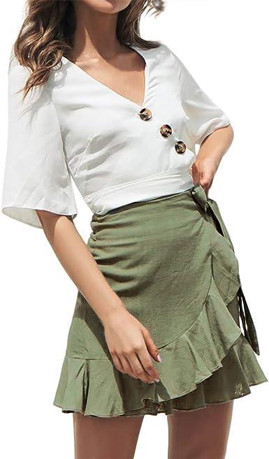 Conquro-falda Correas Cubiertas con Volantes en Color Liso ...