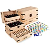 Wooden Essential Oil Multi-Tray Organizer - Holds 74 Oils - Finished - Includes Essential Oil Sticker Labels & Bottle Top Removal Tool