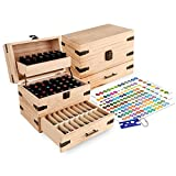 #4: Wooden Essential Oil Multi-Tray Organizer - Holds 74 Oils - Finished - Includes Essential Oil Sticker Labels & Bottle Top Removal Tool