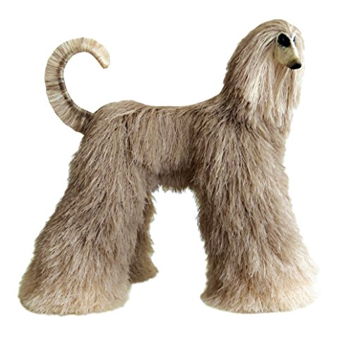 Afghan Hound Collectible Silvery Cream Beige Poseable Miniature Cute Plush Art Doll Needle Felted Dog ()