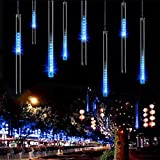 LeMorcy LED Falling Rain Lights, 30CM 8 Tube 144 LEDs Meteor Shower Lights, Icicle Snow Fall String LED Cascading Lights for Wedding, Party, Garden, Tree, Indoor and Outdoor Decoration (Blue)