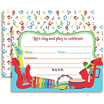 Amazon celebrate with musical instruments birthday party fill musical instruments sing and play themed birthday party celebration fill in invitations set of 10 filmwisefo