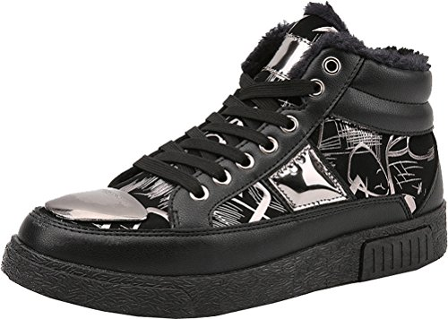 Abby 911-1 Mens Ankle Boot Casual PU Lace-up Athletic Comfy Warm Wool High Top Shoes Black&silver vdKvHom7X