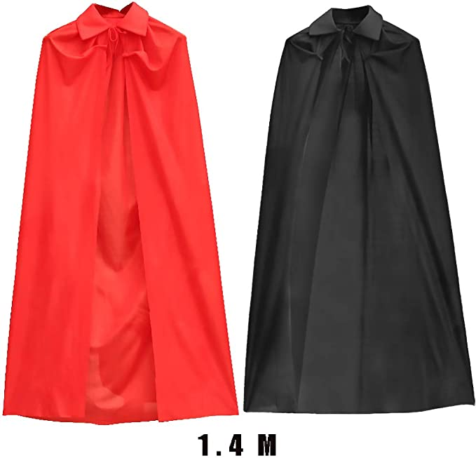 tangger Kids Halloween Black Red Double Sided Cloak 150cm,Cosplay Costumes Hooded Vampire Cloak Halloween Cape for Kids