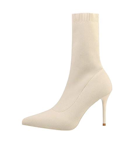 Stivali Calzini Alti Donna Moda Stivaletti Invernali Scarpe Tacco Alto 9cm  Moda Nero Beige (Beige 966d671b9d8