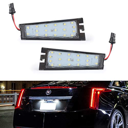 Gempro 2Pack LED License Plate Light Assembly For 2008-2010 Cadillac CTS, Powered by 18SMD Xenon White LED Lights