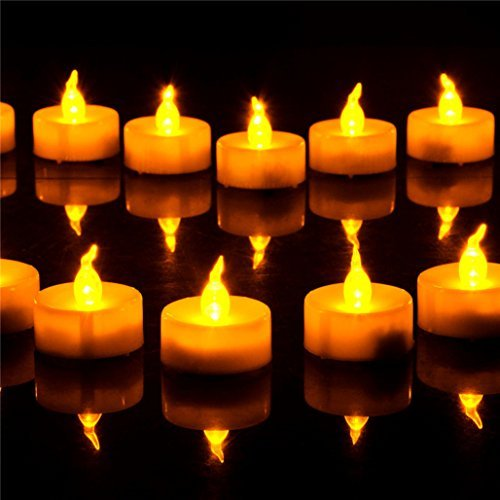 Dellukee Tea Lights LED Remote Battery Operated Home Yellow Flickering Realistic Bright Small Round Flameless Candles For New Year Wedding Halloween Christmas Party Decoration 12 Pack White 1.4 Inch]()