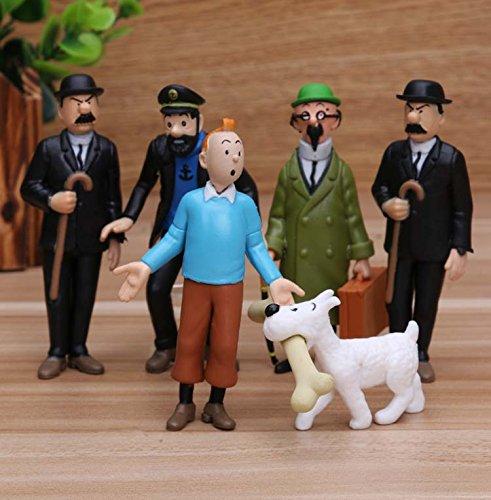 6pcs/Set 4-9 cm The Adventures of Tintin Action Figure Toy Set (Tintin Toys)