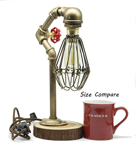 """Y-Nut Loft Style Lamp,""""The Cage"""", Steam Punk Industrial Vintage Style, Wood Base Metal Body, Table Desk Light with Dimmer 4"""