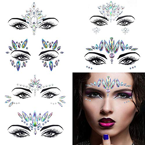 Temporary Tattoos Crystals - 6 Set Face Gems, Rhinestone Mermaid Face Jewels Stickers Face Glitter Eyes Face Body Temporary Tattoos, Crystal Tears Face Stickers Decorations Fit for Masquerade Festival Party