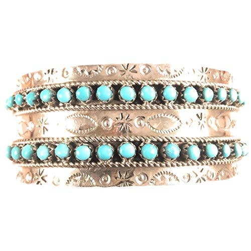 - Nizhoni Traders LLC Navajo Turquoise Sterling Silver Cuff Bracelet Signed