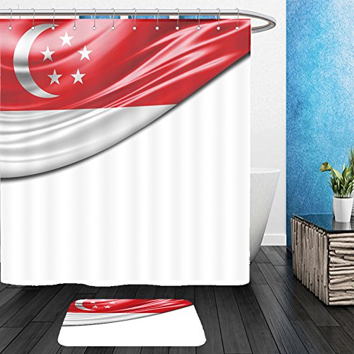 Vanfan Bathroom 2 Suits 1 Shower Curtains &  1 Floor Mats singapore flag of silk with copyspace for your text or images and white background 319560380 From Bath (White Rabbit Singapore Halloween)