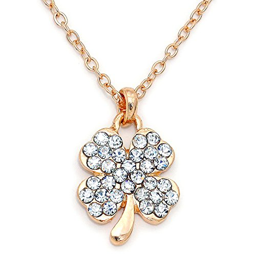 (Mix&Match St.Patrick Lucky Shamrock Clover Pendant Necklace, 16 Inches with Gift Box (Gold/Clear))