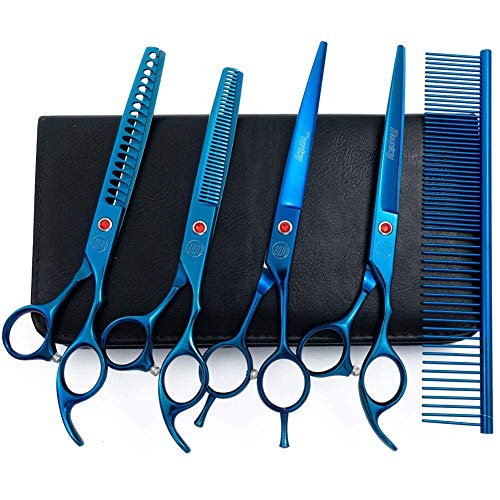 (LINGSFIRE Pet Grooming Set Dog Cat Grooming Scissors Kit 5 Pieces Stainless Steel Rounded Tip Scissors, Thinning, Straight and Curved Shears, Comb Wiping Cloth with Leather Case -Blue)