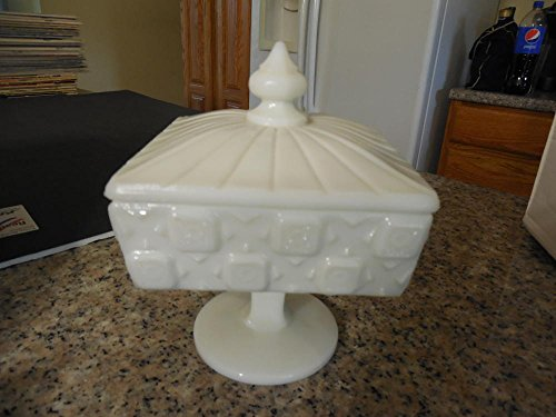 Vintage Westmoreland Milk Glass Old Quilt Pattern Footed Compote Lid