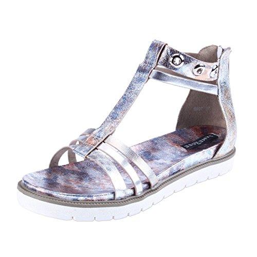 Damara Mujeres Sandalias Planos Con Cierre De Cremallera Zapatillas Zapatos Plateado