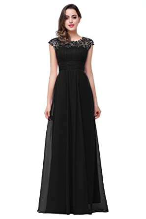 82fd48258ec6 Babyonline Black Lace Chiffon Prom Dresses 2016 Long for Juniors Maxi Party  Gown, Black,