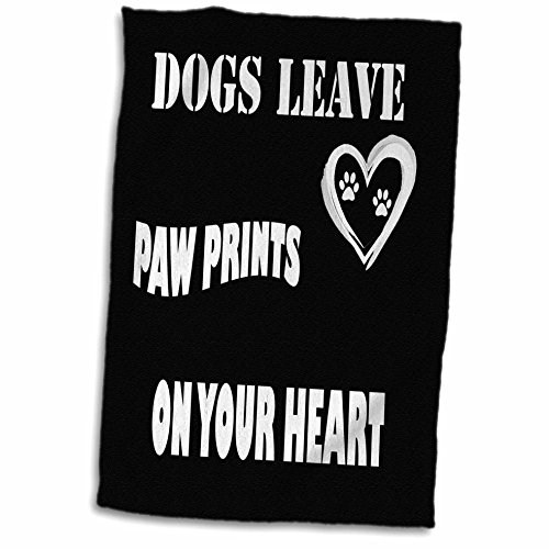 3D Rose Dogs Leave Paw Prints on Your Heart Hand Towel, 15""