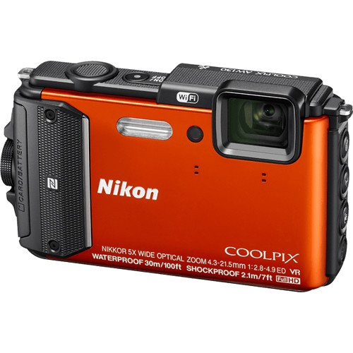 Nikon Coolpix AW130 16.0-Megapixel Waterproof Digital Camera with 5X Optical Zoom NIKKOR ED Wide-Angle Glass Lens, Built-in Wi-Fi, NFC and GPS (Orange) (Gps Windows Wifi)