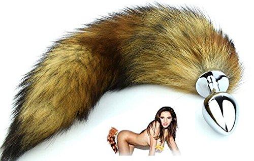 Lover Fire QQ Wild Naughty Chrome Plating Fox Tail w/ Soft Fur - G-Spot Stimulating Fetish Great Pleasure Buttplug Great Valentine's / Birthday Gift