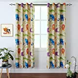 BGment Kids Blackout Curtains Bedroom - Grommet Thermal Insulated Room Darkening Variety Animal Patterns Printed Curtains Nursery, Set of 2 Panels (52 x 84 Inch, Beige Zoo)