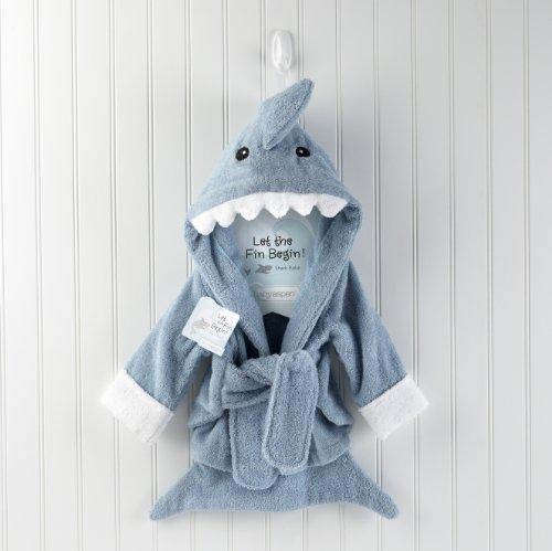 Baby Aspen Let The Fin Begin Blue Terry Shark Robe Blue