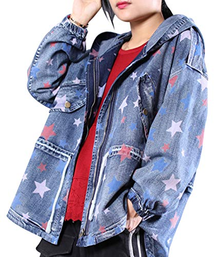 YESNO WD6 Women Casual Star Printed Hoodie Denim Jacket Zipper Up Plus Size Windbreaker Loose Outwear Coat Drawstring Waist/High-Low Hem