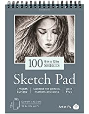 100 Sheets 9 x 12 Inch Smooth Sketchpad for Drawing Pencils Pens Markers Sketching Coloring Sketch Pad Spiral Bound Sketchbook
