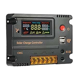 decdeal controlador de carga solar con pantalla LCD a color protección de sobrecarga compensación de temperatura 12V 24V