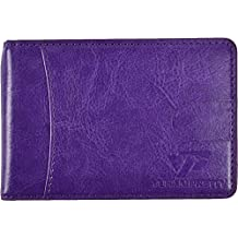 Yuhan Pretty RFID Blocking Ultra Slim Bifold Leather Wallet Thin Front Pocket Wallet With Money Clip for Men and Women (Purple)