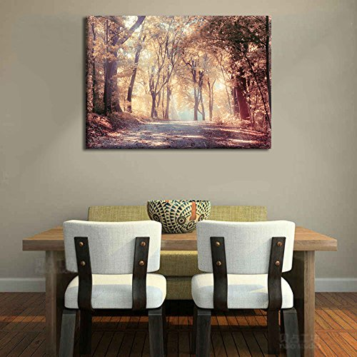 Prints Autumn forest golden yellow leaves Pictures Modern Wall Art Painting On Canvas Artwork Poster for Living room Bedroom Wall Decor Set Framed Ready to Hang for Home (Autumn Poster Print)