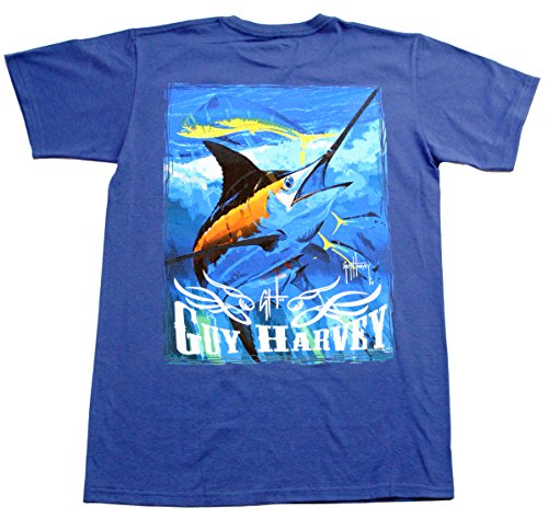 Guy Harvey Men's Blue and Dolphin T-Shirt, Deep Blue, S