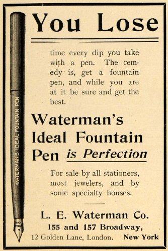 1900 Ad L E Waterman Co. Ideal Fountain Pen Broadway NY - Original Print - 157 Broadway