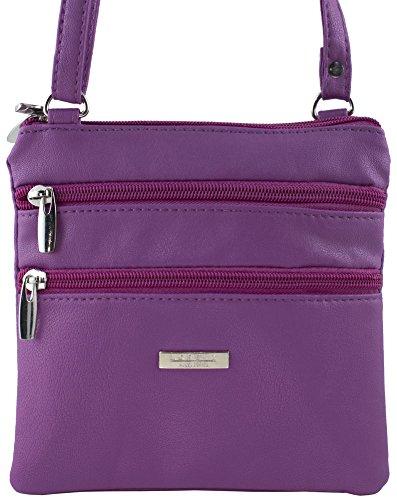 Borsa messenger da donna, in similpelle, da portare a spalla o a tracolla, con cerniera lampo Purple