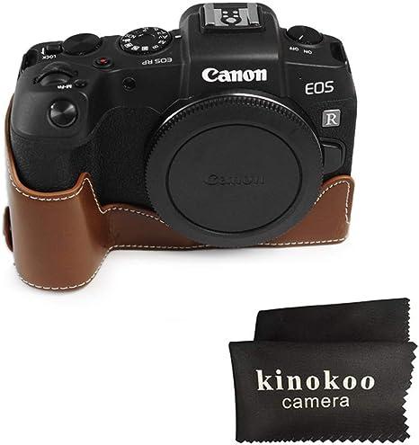 kinoko Estuche de Cuero de PU para Canon EOS RP Estuche Protector Estuche Inferior con Agarre a Mano/Correa de muñeca (marrón): Amazon.es: Electrónica
