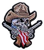 Leather Supreme Medium American Cowboy Skull Guns Embroidered Biker Patch- Brown-Medium