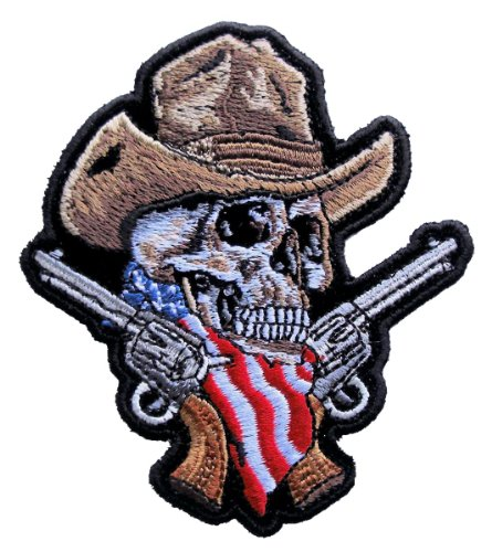 Leather Supreme Small American Cowboy Skull Guns Embroidered Biker Patch- Brown-Small (Cowboy Patches)