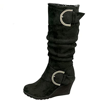 Amazon.com | Lucky Top Girls Suede Wedge Heel Boots with Buckle ...