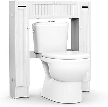 COSTWAY Estante para Inodoro WC Ducha Baño Estantería Almacenamiento con Multiples Intervalos Blanco