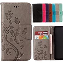 Yiizy Wiko Lenny3 Max Case, Flower Embossed Design Premium Leather Flip Cover Wallet Bumper Slim Lightweight Protective Shell Pouch with Media Kickstand Card Slots (Gray)