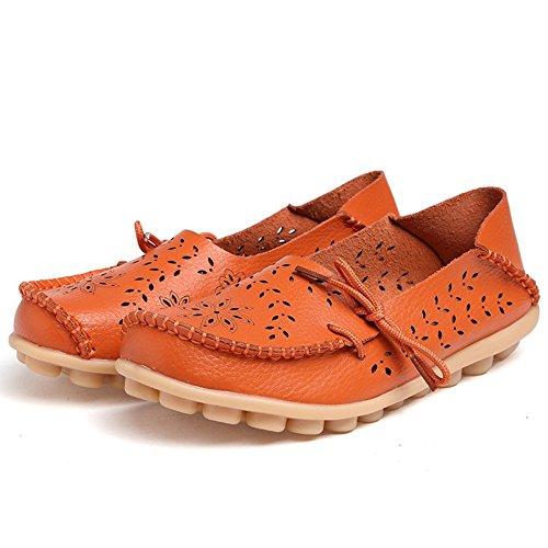 Ofenbuy Damesleren Instappers Koeienhuid Uitgehold Casual Instapper Slippers Platte Schoenen Oranje Rijden