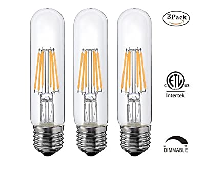 T10 6W Tubular LED Bulb, Dimmable Led Edison Bulb,Led Filament Bulb, T10 Nostalgic Led Bulb, E26/E27 Medium Base, 60 Watt Incandescent Bulb Equivalent, 2700K Warm White,550LM,Clear Glass Cover, 3-Pack