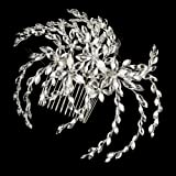 Nilsa Marquise Rhinestone Floral Side Wedding Bridal Occasion Comb
