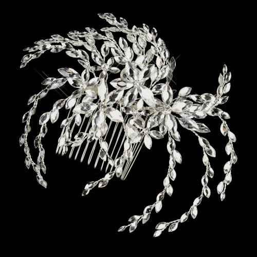 Nilsa Marquise Rhinestone Floral Side Wedding Bridal Occasion Comb by Special Occasions
