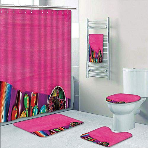 Bathroom 5 Piece Set shower curtain 3d print,Mexican Decorations,View of Folkloric Serape Blanket Charro Hat and Music Instruments,Fuchsia Purple,Bath Mat,Bathroom Carpet Rug,Non-Slip,Bath Towls by iPrint