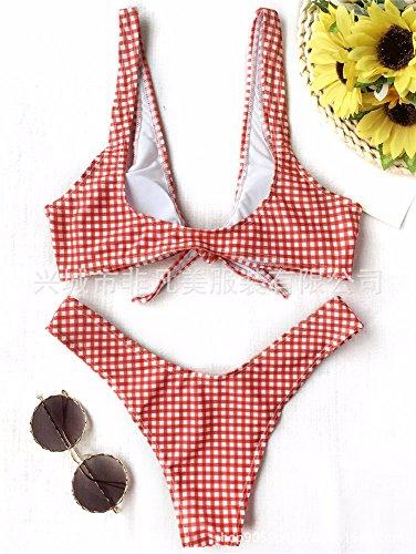 donna delle toracica griglia Split Bikini bikini red Costume Bikini Bagno del Swimsuit bagno Bikini GK da fascia timbro costume da donne costume della bagno da Set ZtxqZYwf
