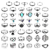 LOLIAS 46 Pcs Vintage Knuckle Ring Set for Women Girls Stackable Rings Set Hollow Carved Flowers (A1:46 Pcs a Set)