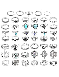 LOLIAS 44-60 Pcs Vintage Knuckle Ring Set for Women Girls Stackable Rings Set Hollow Carved Flowers