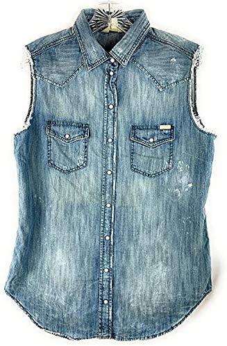 Diesel De Sovita Womens Vest Jacket Light Blue Denim (XS)