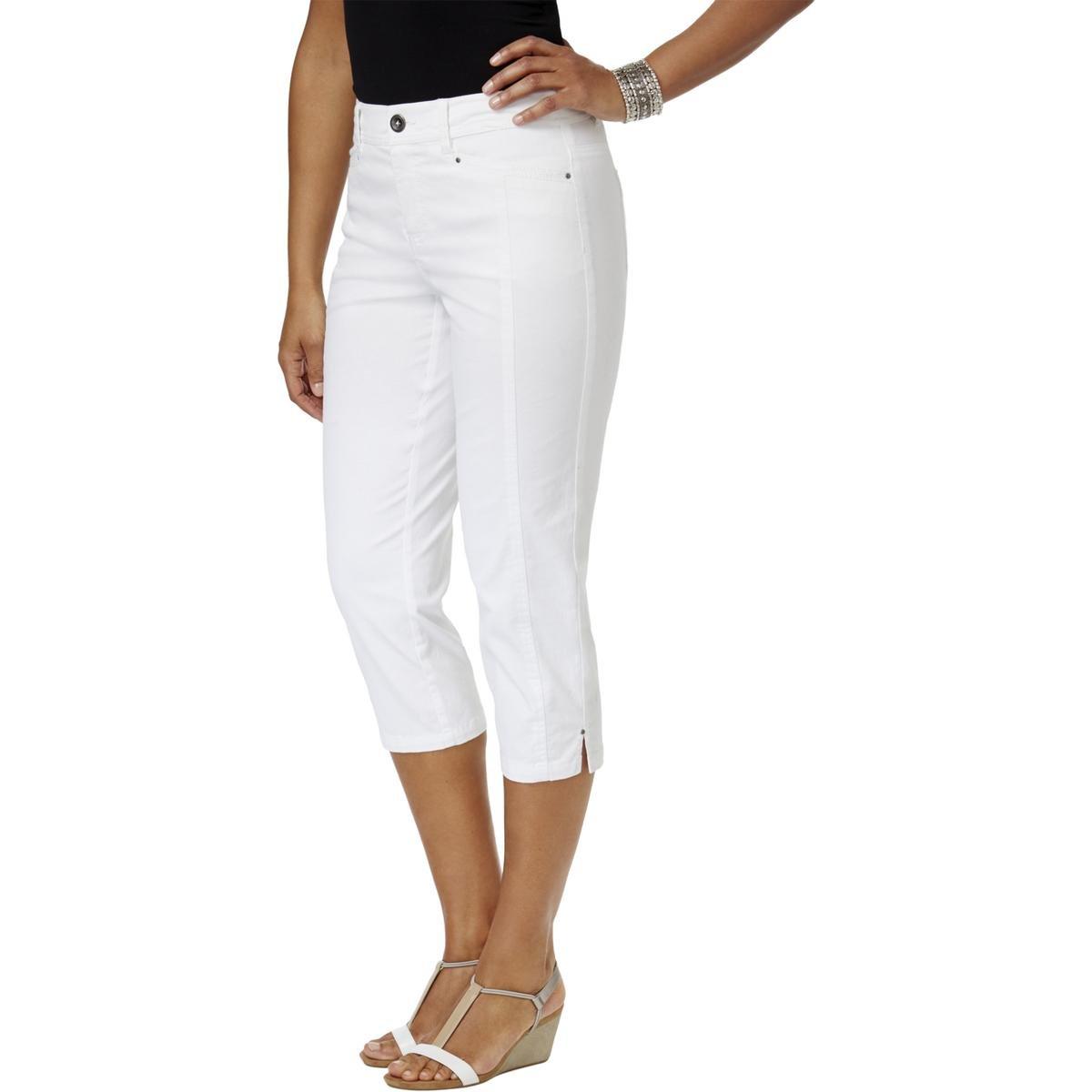 Style & Co.. Womens Petites Mid-Rise Tummy Control Capri Pants White 4P